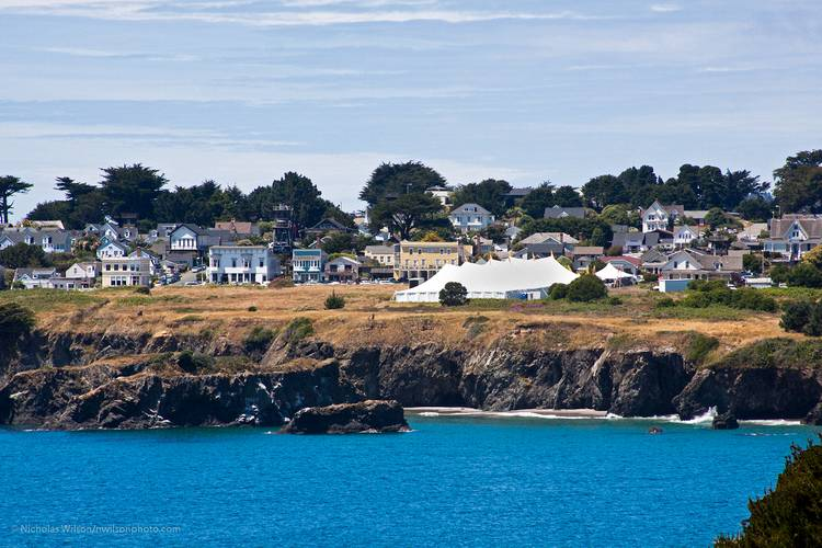 Mendocino California with Music Festival tent