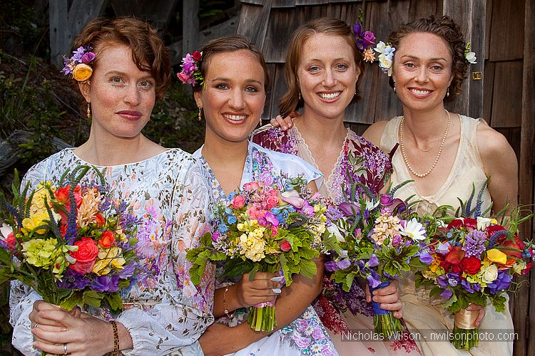 A beautiful June bride and her bridesmaids