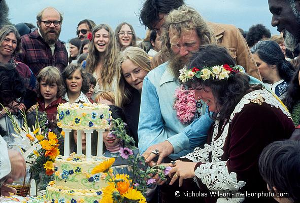 Nancy Littleriver and Sunshine cut wedding cake at Pt. Cabrillo 1977