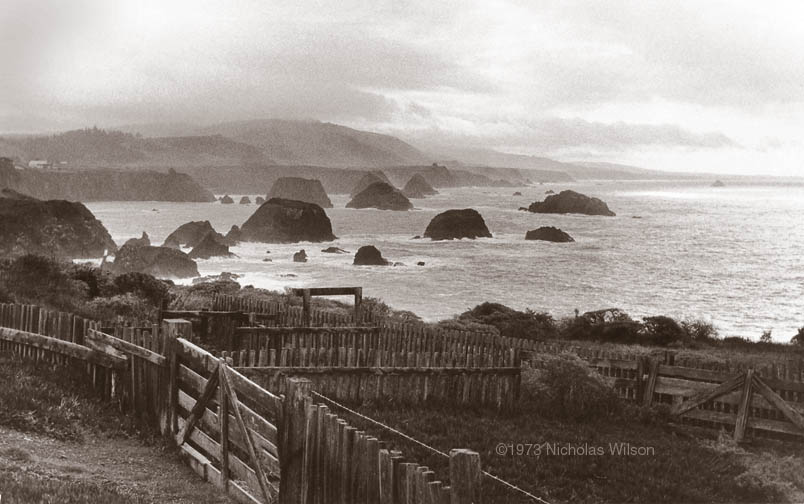 Classic view of the Mendocino Coast at Cuffey's Cove looking south to Point Arena. Photo �1973 Nicholas Wilson.